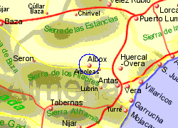 Map of the Albox area, fully zoomed in