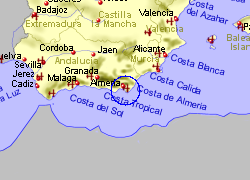 Map of the Almeria Ferry Port area, fully zoomed out