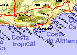 Map of the Almeria Ferry Port area, normal view