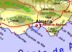 Map of the Almeria Ferry Port area, fully zoomed in
