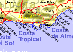 Map of the Almerimar area, normal view
