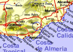 Map of the Arboleas area, normal view