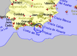 Map of the Roquetas de Mar area, fully zoomed out