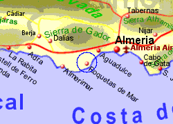 Map of the Roquetas de Mar area, fully zoomed in