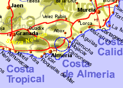 Map of the sorbas area, normal view