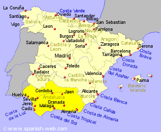 Map showing location of Andalucia in southern Spain