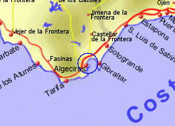 Map of the Algeciras Ferry Port area, fully zoomed in