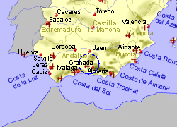 Map of the Montefrio area, fully zoomed out