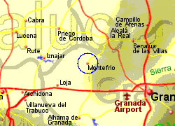 Map of the Montefrio area, fully zoomed in