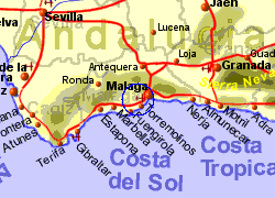 Map of the Alhaurin de la Torre area, normal view