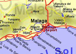 Map of the Alhaurin de la Torre area, fully zoomed in