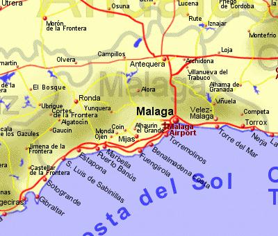 Map Of Spain Showing Malaga.Malaga Holiday Rentals B And B Sales And Travel