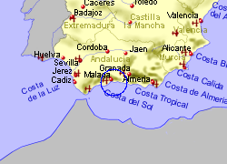 Map of the Malaga area, fully zoomed out
