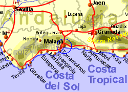 Map of the Malaga area, normal view