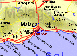 Map of the Malaga area, fully zoomed in