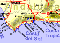 Map of the Mijas area, normal view