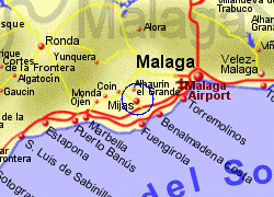 Map of the Mijas area, fully zoomed in