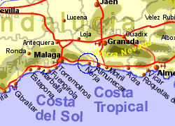 Map of the Nerja area, normal view