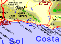 Map of the Nerja area, fully zoomed in