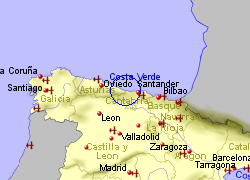 Map of the Llanes area, fully zoomed out