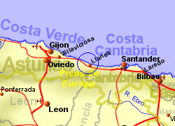 Map of the Llanes area, normal view