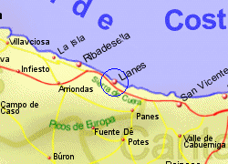 Map of the Llanes area, fully zoomed in