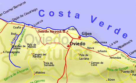 Map Of Spain Oviedo.Asturias Northern Spain Holiday Rentals B B Sales And Travel