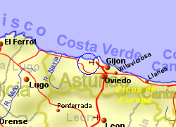 Map of the Pravia area, normal view