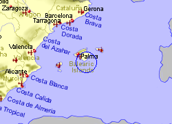 Map of the Colonia de Sant Jordi area, fully zoomed out