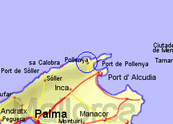 Map of the Pollensa area, fully zoomed in