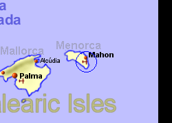 Map of the Mahon Ferry Port area, normal view