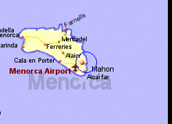 Map of the Mahon Ferry Port area, fully zoomed in