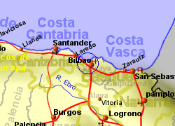 Map of the Bilbao Ferry Port area, normal view
