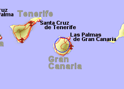 Map of the Tejeda area, normal view