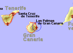 Map of the Telde area, normal view