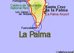 Map of the Fuencaliente area, fully zoomed in