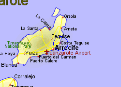 Map of the Costa Teguise area, fully zoomed in