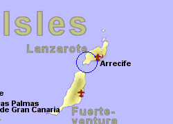 Map of the Playa Blanca Ferry Port area, normal view