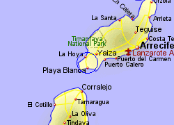 Map of the Playa Blanca Ferry Port area, fully zoomed in