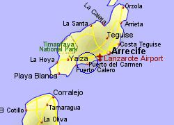 Map of the Puerto del Carmen area, fully zoomed in