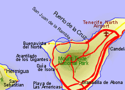 Map of the Icod de los Vinos area, fully zoomed in