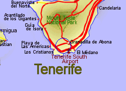 Map of the San Miguel de Abona area, fully zoomed in