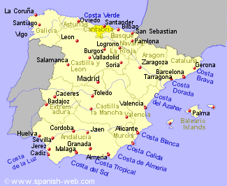 Map Cantabria Northern Spain