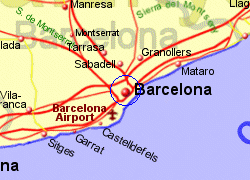 Map of the Barcelona area, fully zoomed in