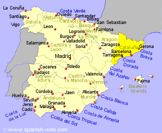 Map showing location of Catalunya region in Spain