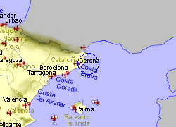 Map of the Palamos area, fully zoomed out