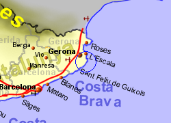 Map of the Palamos area, normal view