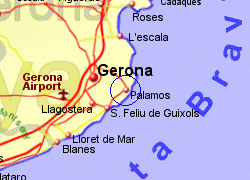 Map of the Palamos area, fully zoomed in