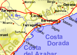 Map of the Salou area, normal view