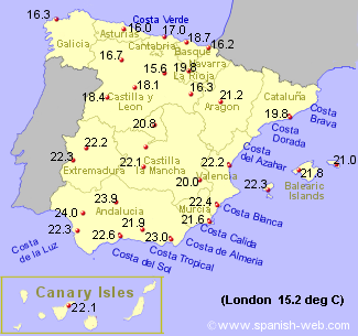 Map showing average temperatures around Spain and the Canary isles during June